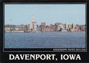 Iowa Davenport Mississippi Riverfront  Skyline