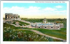 Ponca City, Oklahoma Postcard Wentz Boy-Scout Swimming Pool Linen 1940s Unused