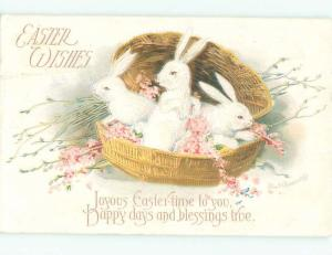 Pre-Linen Easter CUTE BUNNY RABBITS SITTING IN BASKET AB3543