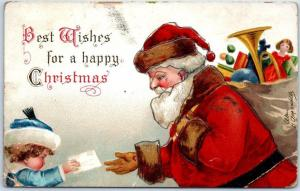 Artist-Signed CLAPSADDLE Christmas Santa Claus 1908 Cancel *Pencil Marks on Face
