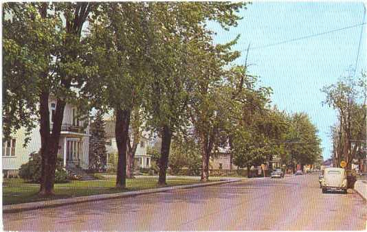 Typical, Residential Street in Huntindon, Quebec, 1963 Chrome