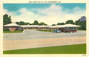 Chatsworth Georgia~Adco Motel~1954 Linen Roadside Postcard