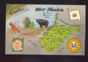 GREETINGS FROM WEST VIRGINIA MAP STATE OLD POSTCARD