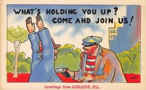What's Holding You Up? from Loraine Illinois~Masked Robber~Comic Pun~1940s PC
