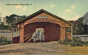 Bellows Falls VT Tucker Toll Covered Bridge Horse & Wagon Postcard