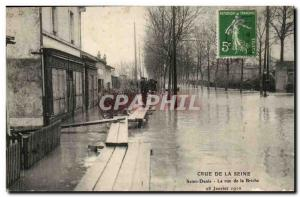 Crue of the Seine Paris Old Postcard Floods Saint Denis Street Briche