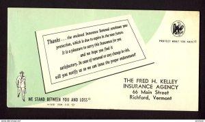 RICHFORD VERMONT USA - Fred H. Kelley Insurance Agency - Thanks renewal BLOTTER