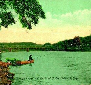 Muskingum River 8th Street Bridge Zanesville Ohio OH 1909 Vtg Postcard