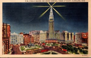 Ohio Cleveland Public Square and Union Terminal Tower At Night 1952 Curteich