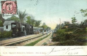 suriname, KOFFIEDJOMPO, Railway Station with Steam Train (1906) Stamp
