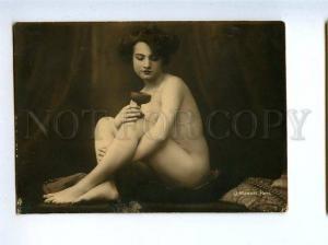 128962 NUDE Woman BELLE w/ Glass Vintage PHOTO MANDEL PC#1