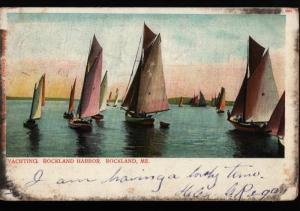 Rockland Harbor ME Sailboats Germany G. W. Morris Vintage Undivided Postcard B06