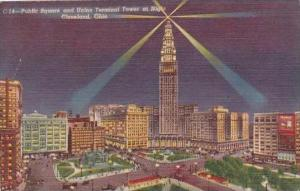 Ohio Cleveland Public Square And Union Terminal Tower At Night