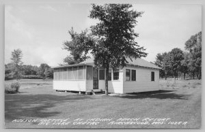 Birchwood WI Screened-In Porch @ Nelson Cottage @ Indian Beach Resort~RPPC c1950