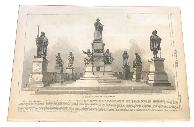 Luther Monument at Worms Germany - October 10 1868 - Harpers Weekly Print