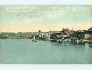 Divided-Back BOAT & FACTORIES ALONG HUDSON RIVER Troy New York NY t6527