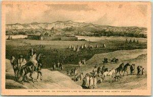 1928 North Dakota / Montana Postcard OLD FORT UNION Indian Scene Tepees