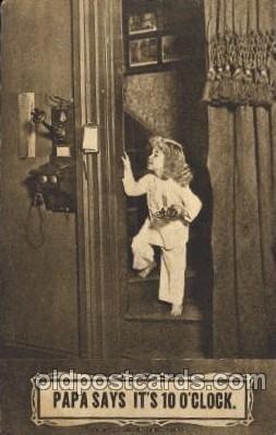 Papa says it's 10 o'clock Children, Child, 1910 light wear, postal used 1910