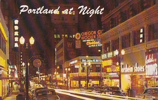 Oregon Portland Southwest Washington Street At Night