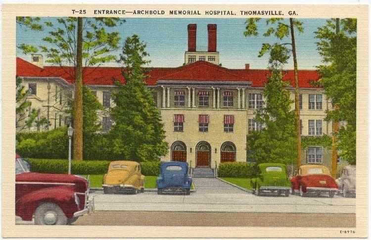 Thomasville Georgia Early View Of Entrance To Archbold Memorial Hospital