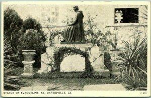 St. Martinville, Louisiana Postcard STATUE OF EVANGELINE / St. Martin Church
