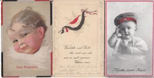 Germany patriotic World War I postcards military babies flag x 3 pcs. 1916