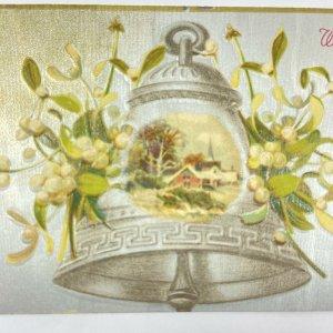 Vintage Christmas Silver Metallic Reflective Bell Mistletoe Postcard