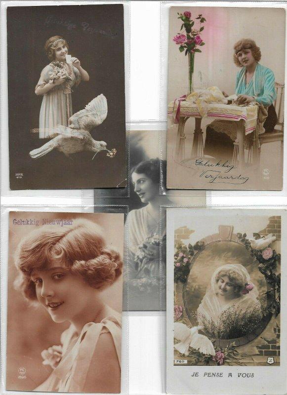 Art Nouveau Cute Kids RPPC Postcard Lot of 10 01.10