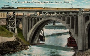 CM  & St P Train Crossing Spokane River,Spokane,WA