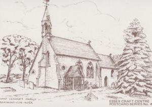 Saint Leonards Church Beaumont Cum Moze Drawing Painting Essex Crafts Postcard