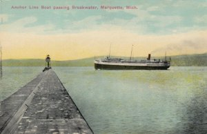 MARQUETTE , Michigan, 1900-10s; Achor Line Boat passing Breakwater