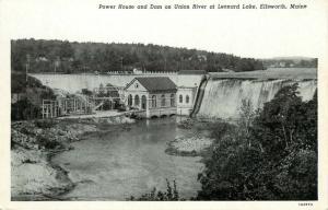 Ellsworth, Maine, ME, Power House & Dam on Union River, Vintage Postcard e7814