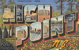HIGH POINT, NC Large Letter Greetings c1940s Vintage Linen Postcard