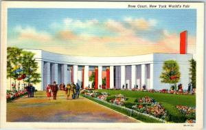 1939 New York World's Fair Official  Postcard ROSE COURT Curteich Linen Unused