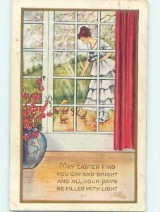 Pre-Linen easter PRETTY GIRL SCATTERS SEED ON THE GROUND FOR CHICKS hr2270