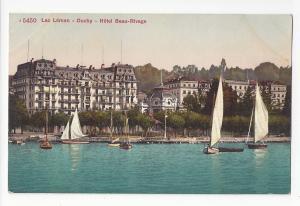 Switzerland Hotel Beau Rivage Ouchy Lac Leman  Sailboats Vtg Postcard c 1910