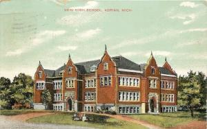 Adrian Michigan~Big Puddle After Rain at New High School~Spanish Revival~c1908