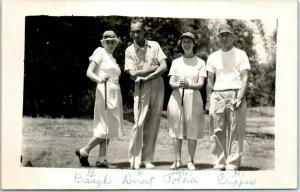Vintage RPPC Photo Postcard GOLFING Mixed Foursome 2 Ladies 2 Men May 16 1948