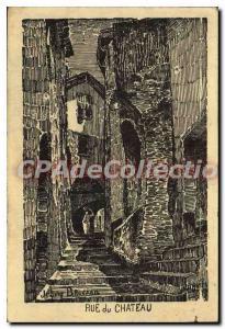 Old Postcard Menton Rue du Chateau