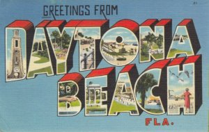 DAYTONA BEACH, Florida, PU-1964; Greetings, 11-Views, Large Letter