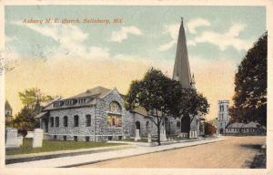 Sailsbury Maryland Asbury ME Church Street View Antique Postcard K64278