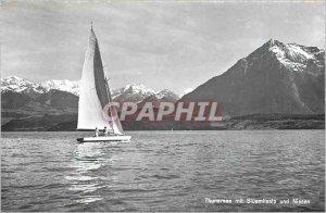 Modern Postcard Thunersee mit Niesen und Bluemlisalp Boat