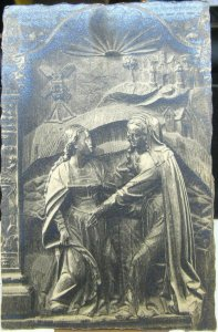 Postcard Vintage Carved relief wooden - unposted