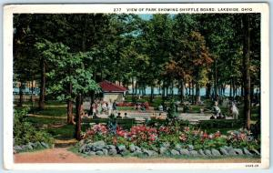 LAKESIDE, Ohio  OH    View of Park  SHUFFLEBOARD  ca 1940s Linen Postcard