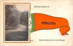 All the Folks in Penalosa Kansas~Send Greetings~Lovers Lane~Pennant Postcard
