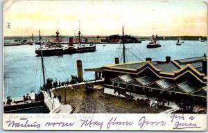 Vintage COBH, Ireland Postcard QUEENSTOWN HARBOR and Railway Station 1907