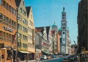 Postcard Germany augsburg karolinestrasse mit street view tower clock cars