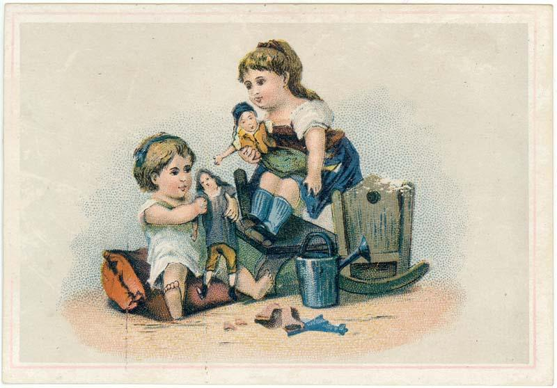 Vintage Greeting Card Girls Playing with Dolls