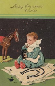 CHRISTMAS, 1900-10s; Toddler finger painting, Toy Horse, PFB 6138
