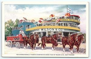 Postcard IL Six Horse Team Wilson Company Meat Packers Century of Progress E16